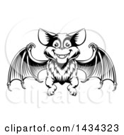 Clipart Of A Black Adn White Woodcut Flying Bat Royalty Free Vector Illustration