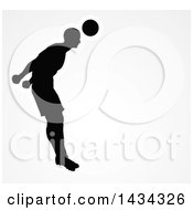 Clipart Of A Black Silhouetted Male Soccer Player Heading A Ball Outlined In White Over Gray Royalty Free Vector Illustration