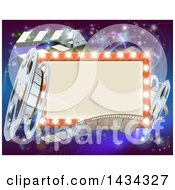 Retro Marquee Theater Sign With Light Bulbs Film Reels And Clapper Board Over Magical Lights
