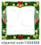Christmas Wreath Border Frame With Bells Bows And Baubles