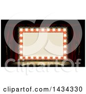 Clipart Of A Retro Marquee Theater Sign With Light Bulbs On A Stage Royalty Free Vector Illustration