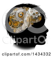 Clipart Of A Black Silhouetted Boys Head With 3d Gear Cogs Visible In His Brain Royalty Free Vector Illustration