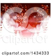 Clipart Of A Red Christmas Background With Falling Snowflakes Over White Silhouetted Evergreen Trees Royalty Free Vector Illustration