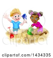 Poster, Art Print Of Happy White Boy And Black Girl Making Sand Castles On A Beach