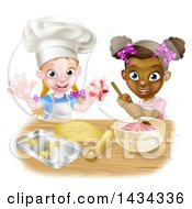 Clipart Of Cartoon Happy White And Black Girls Making Pink Frosting And Star Shaped Cookies Royalty Free Vector Illustration