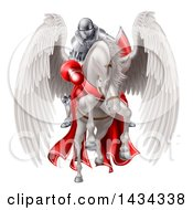 Poster, Art Print Of 3d Fully Armored Medieval Jousting Knight Holding A Lance On A White Pegasus Horse As They Charge Forward