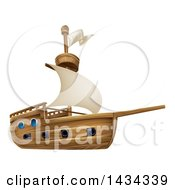 Clipart Of A Sailing Galleon Ship Royalty Free Vector Illustration