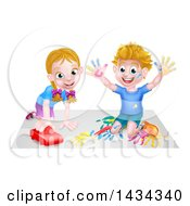Clipart Of A Cartoon Happy White Boy Kneeling And Finger Painting Artwork And Girl Playing With A Toy Car Royalty Free Vector Illustration