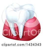 Clipart Of A 3d Tooth And Gums Royalty Free Vector Illustration