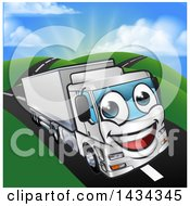 Clipart Of A Cartoon Happy Big Rig Lorry Truck Mascot On A Country Road Royalty Free Vector Illustration by AtStockIllustration
