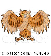 Clipart Of A Sketched Angry Owl With His Wings Open Royalty Free Vector Illustration by patrimonio