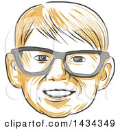 Clipart Of A Retro Sketched Boys Face Wearing Glasses Royalty Free Vector Illustration