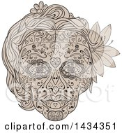 Clipart Of A Sketched Female Sugar Skull Royalty Free Vector Illustration
