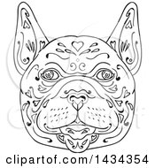 Clipart Of A Mandala Sketched French Bulldog Face Royalty Free Vector Illustration
