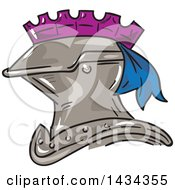 Clipart Of A Sketch Styled Knight Helmet Royalty Free Vector Illustration