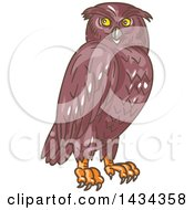 Clipart Of A Sketched Owl Looking To The Side Royalty Free Vector Illustration by patrimonio