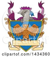 Clipart Of A Sketched Owl On A Crest Shield With A Knight Helmet And Banner Royalty Free Vector Illustration