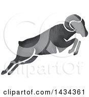 Clipart Of A Watercolor Ram Leaping Royalty Free Vector Illustration