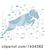Clipart Of A Blue Watercolor Ram Leaping Royalty Free Vector Illustration by patrimonio