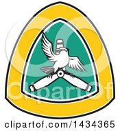 Clipart Of A Retro Shrike Bird On A Propeller Blade In A Crest Royalty Free Vector Illustration