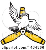 Clipart Of A Retro Shrike Bird On A Propeller Blade Royalty Free Vector Illustration