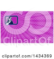 Clipart Of A Retro Male Plumber Holding A Monkey Wrench Over His Shoulder And Purple Rays Background Or Business Card Design Royalty Free Illustration