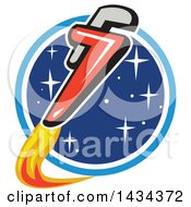 Clipart Of A Pipe Monkey Wrench Rocket In Flight Around A Circle Of Stars Royalty Free Vector Illustration by patrimonio