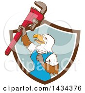 Cartoon Bald Eagle Plumber Man Holding Up A Pipe Monkey Wrench Emerging From A Shield