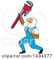 Cartoon Bald Eagle Plumber Man Holding Up A Pipe Monkey Wrench