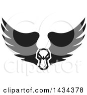 Clipart Of A Black And White Tough Angry Mallard Duck Head With Wings Royalty Free Vector Illustration