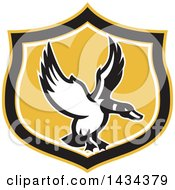 Clipart Of A Retro Mallard Duck Flying In A Black White And Yellow Shield Royalty Free Vector Illustration by patrimonio