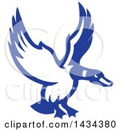 Clipart Of A Retro Blue And White Mallard Duck Flying Royalty Free Vector Illustration