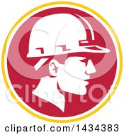 Retro Male Foreman Or Builder Wearing A Hardhat In A Yellow White And Red Circle