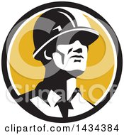 Clipart Of A Retro Male Foreman Or Builder Wearing A Hardhat And Looking Forward In A Black White And Yellow Circle Royalty Free Vector Illustration by patrimonio