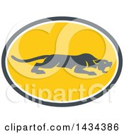 Clipart Of A Retro Black Panther Big Cat Stalking In A Gray White And Yellow Oval Royalty Free Vector Illustration