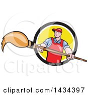 Clipart Of A Retro Cartoon White Male Artist Holding A Giant Paintbrush In A Black White And Yellow Circle Royalty Free Vector Illustration by patrimonio