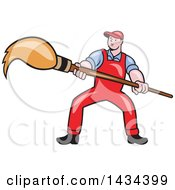 Clipart Of A Retro Cartoon White Male Artist Holding A Giant Paintbrush Royalty Free Vector Illustration by patrimonio