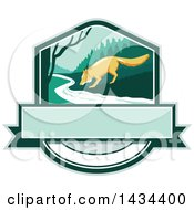 Clipart Of A Retro Sketched Fox Drinking From A Creek In A Shield Royalty Free Vector Illustration