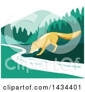 Clipart Of A Retro Sketched Fox Drinking From A Creek Royalty Free Vector Illustration