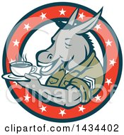 Clipart Of A Retro Cartoon Army Sergeant Donkey Holding A Cup Of Coffee On A Saucer In A Circle Of Stars Royalty Free Vector Illustration by patrimonio