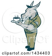 Clipart Of A Retro Cartoon Army Sergeant Donkey Holding A Cup Of Coffee Royalty Free Vector Illustration