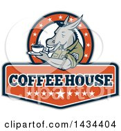 Clipart Of A Retro Cartoon Army Sergeant Donkey Holding A Cup Of Coffee On A Saucer In A Circle Of Stars Over Text Royalty Free Vector Illustration by patrimonio