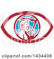 Clipart Of A Retro Greek God Cronus Or Kronos Holding A Scythe In An Eye Royalty Free Vector Illustration