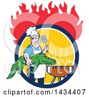 Retro Cartoon Male Chef Carrying An Alligator And Spatula To A Football Grill In A Circle Under Flames