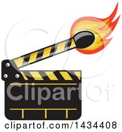 Clipart Of A Retro Clapper Board With A Lit Match Stick Royalty Free Vector Illustration by patrimonio