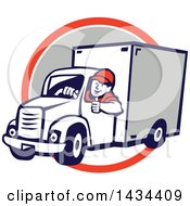 Clipart Of A Retro Cartoon Male Delivery Driver Giving A Thumb Up Over An Orange White And Gray Circle Royalty Free Vector Illustration