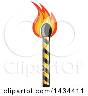 Clipart Of A Lit Match Stick Royalty Free Vector Illustration