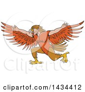 Clipart Of A Cartoon Lleu Lleu Llaw Gyffes Half Man Half Eagle Spreading His Wings Royalty Free Vector Illustration by patrimonio