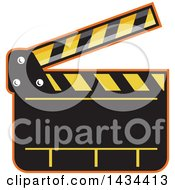 Clipart Of A Retro Clapper Board Royalty Free Vector Illustration