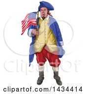 Clipart Of A Watrcolor American Patriot Shouting And Holding An American Flag Royalty Free Vector Illustration by patrimonio